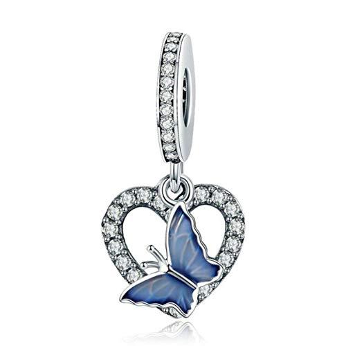 YaShuo Jewellery - Ciondolo a forma di tartaruga, in argento Sterling originale, per braccialetti Pandora e Argento, colore: Ciondoli di cristallo a forma di farfalla., cod. S3696