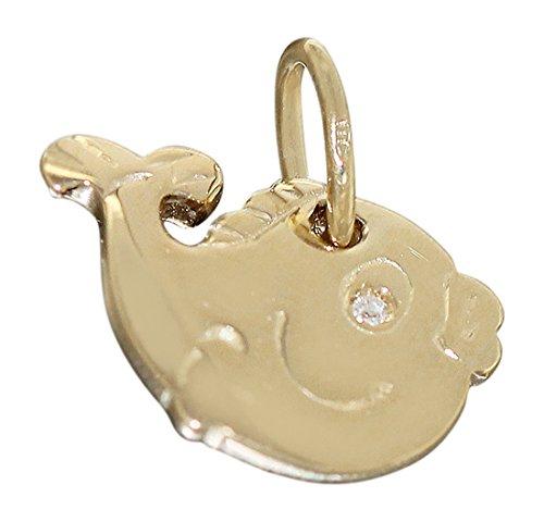 Hobra-oro minadesign - ciondolo a forma di pesce in legno massiccio con - 585 oro con ciondolo a forma di pesce - oro