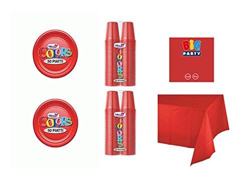 CDC - Kit n°17 Coordinato Monocolore Rosso da tavola per Festa e Party ed Ogni ricorrenza - (50 Piatti, 100 Bicchieri, 50 tovaglioli,1 Tovaglia)
