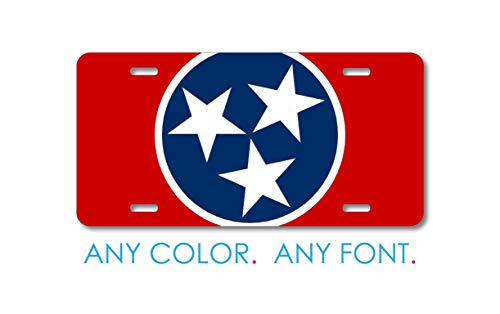 Decorative Car Front License Plate, Custom License Plate Front Car Tag, Personalized With Custom Text, Tennessee State Flag, 6 X 12 Inch