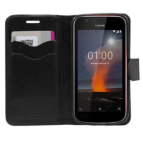 ebestStar - Cover Nokia Nokia 1 Custodia Portafoglio Pelle PU Protezione Libro Flip, Nero [Apparecchio: 133.6 x 67.8 x 9.5mm, 4.5'']