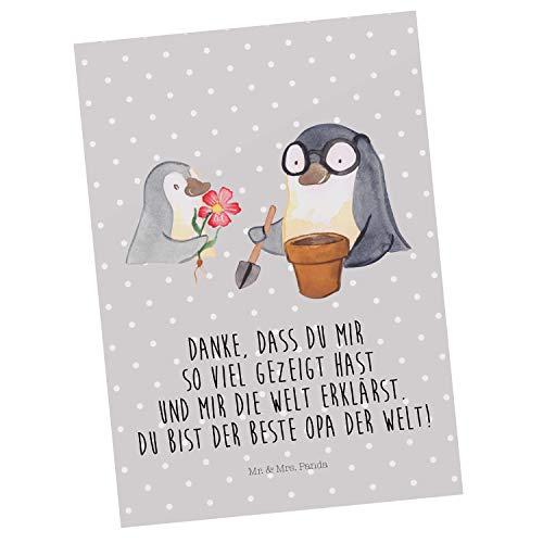 Mr. & Mrs. Panda Einladung, Ansichtskarte, Postkarte Pinguin Opa Blumen Pflanzen mit Spruch - Farbe Grau Pastell