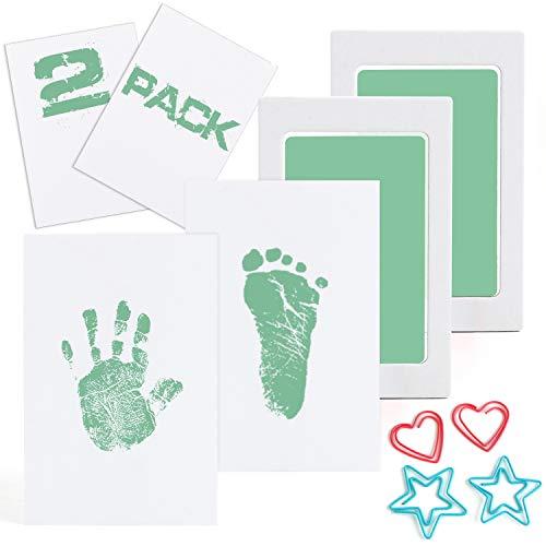 Scotamalone 2 Packs Baby-Handabdruck- und Fußabdruck-Stempelkissen - Pet Paw Print Kits - Ungiftig, sicher und sauber - für Familien-Andenken, Babyparty-Geschenk und Registrierung mittlerer Größe Grün