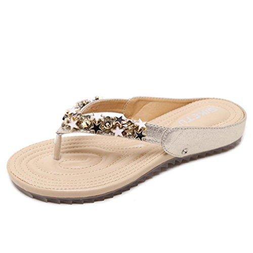 Winwintom Moda Mujer Chicas Boho Flip Flops Sandalias Casual Wedge Clip de Estilo de Roma Toe Zapatos de Playa (40, Oro)