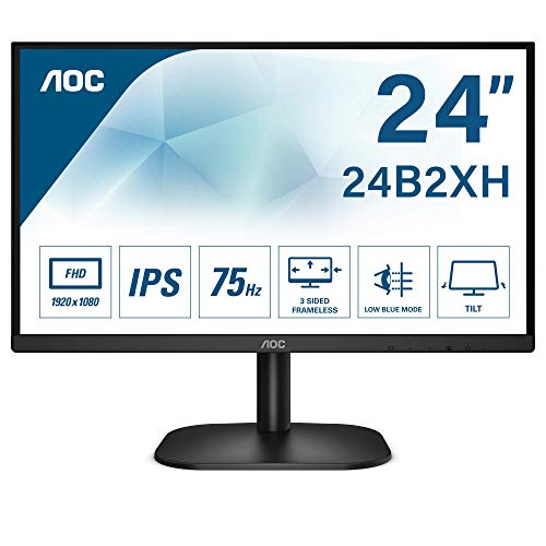 "AOC Monitor 24B2XH- 24"" Full HD, 75 Hz, IPS, Flickerfree, 1920x1080, 250 cd/m, D-SUB, HDMI"