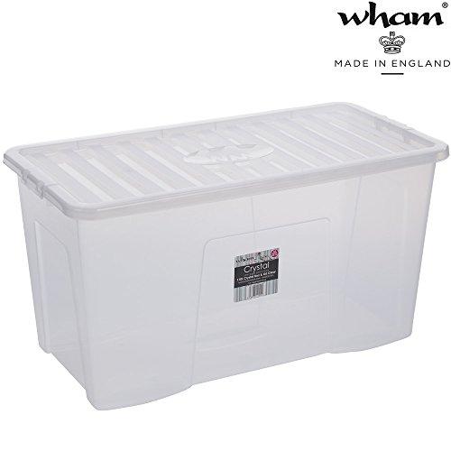 Aufbwahrungsbox mit Deckel 110 Liter Clip-Verschluss Stapelbar Lebensmittelecht Transparent Transport Lagerbox Aufbewahrungs Kiste Aufbewahrungsbox Stapelbox Plastikbox Spielzeugkiste Organizer Box XL