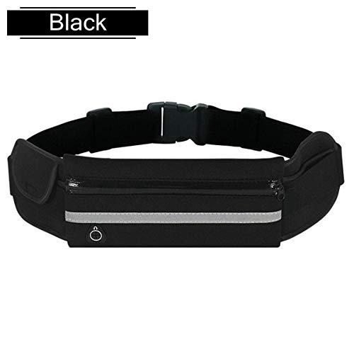 Bolso de la cintura de funcionamiento a prueba de agua deportes al aire libre que se ejecutan las señoras bolso de la cintura señoras bolsa trotar móviles señoras de los hombres ( Color : Black )