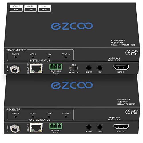 EZCOOTECH - Extensor HDMI 2.0 a través de Ethernet, 4k60 sin comprimir 18G/BPS sobre un solo Cat5/6 hasta 40 m, RS232+POE+IR+HDCP2.2, HDR y Atmos, CEC, EDID Management.