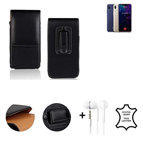 K-S-Trade® Leder Gürtel Tasche + Kopfhörer Für Allview Soul X5 Style Seitentasche Belt Pouch Holster Handy-Hülle Gürteltasche Schutz-Hülle Etui Schwarz 1x