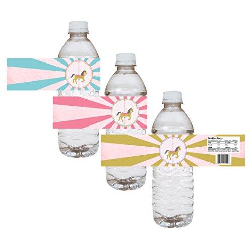 Adorebynat Party Decorations - EU etiquetas de las botellas de agua del carrusel del Partido - chica del cumpleaños del bebé pegatinas de ducha - conjunto de 12