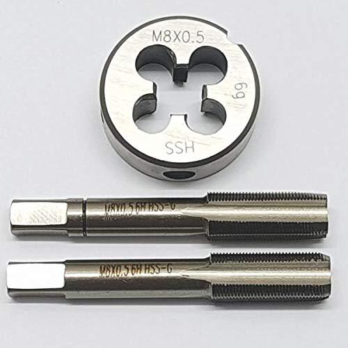 M8 x 0,5 Schneideisen + 2 tlg. Handgewindebohrer Feingewinde Gewindebohrer Set