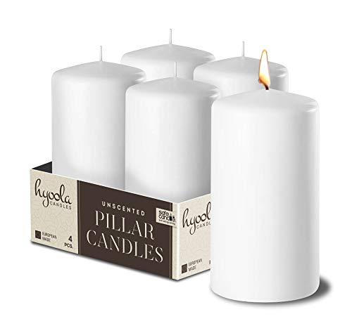 Hyoola Weiß Stumpenkerzen 50 X 101 mm - 4 Pack - 25 Stunden Brenndauer - Unparfümiert Groß Stumpen Kerzen