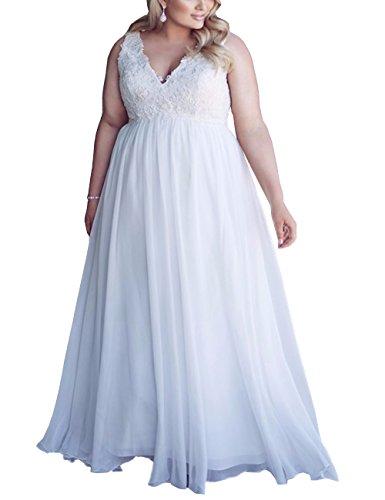 Mulanbridal Chiffon Applique Beach Wedding Dress Long Formal Prom Evening Gown White 28W