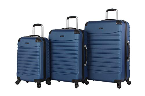 Ciao Voyager Luggage Collection - 3 Piece Hardside Lightweight Spinner Suitcase Set - Travel Set includes 20-Inch Carry On, 24 inch and 28-Inch Checked Suitcases (Voyager Dark Lake Blue)