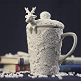 Creative Cup For Christmas 3D Amimal Couples Cups with Lid Cute Milu Deer Coffee Cup Tazas de leche Snow Ceramic Breakfast Creative Xmas Gift, Type A