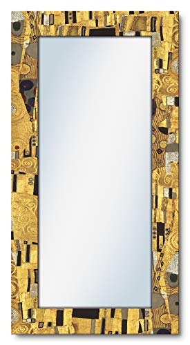 Artland Ganzkörperspiegel Holzrahmen zum Aufhängen Wandspiegel 60x120 cm Design Spiegel Abstrakt Malerei Kunst Gustav Klimt Der Kuss T9LL