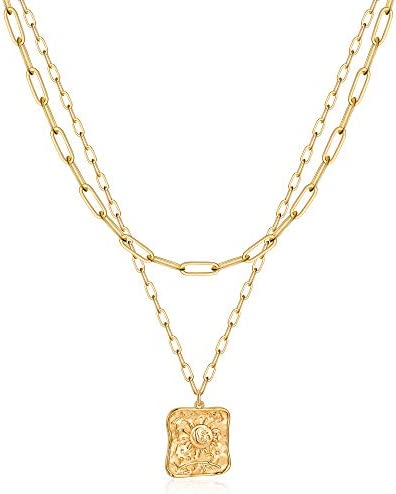 Turandoss Gold Sun Square Pendant Necklace 14K Gold Plated Layered Medallion Necklace Paperclip product image