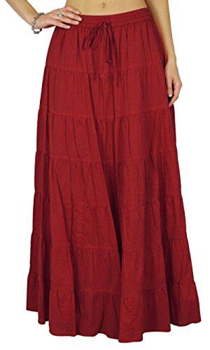 Phagun De Algodón De Las Mujeres del Verano De La Falda Granate Etnico Diseño Lazo De La Cintura - 44