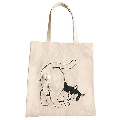 ALGET Women Tote Bag Cute Kitty Cat Balls Design,Handmade Handbag Canvas Shoulder Zipper Bags,with Inner Pocket