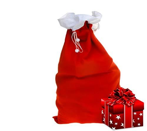 L+H Weihnachtssack rot XL | hochwertig verarbeitet | Maße 90cm x 60cm | Santa Claus Nikolaus Weihnachtsmann Christmas | großer Sack für Geschenke | Geschenksack Kordelzug