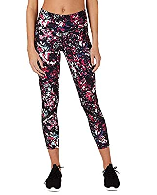 Ideology Women's Abstract Floral Printed Mesh-Trimmed Leggings, Multi Color, X-Large