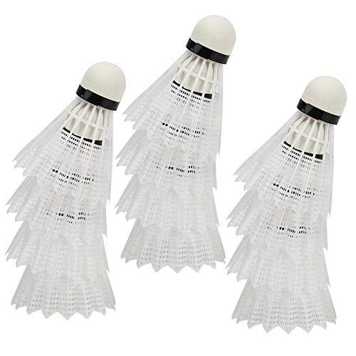 12 unids avanzado Nylon Plumas Deportes bádminton Compuesto Corcho balón Entrenamiento de Entrenamiento de Entrenamiento de Bloqueo Deportivo Accesorios de bádminton Badminton de plástico