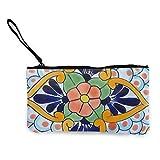XCNGG Monederos Bolsa de Almacenamiento Shell Women's Wristlet Wallet Clutch for Smartphones with Wrist Strap Card Coin Purse Case - Talavera Nine Pattern