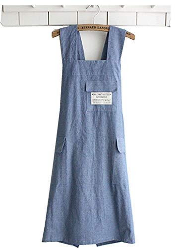 Delantal de chef de regalo estilo japonés X forma de mezclilla smock Natural algodón delantal halter cruzado vendaje babero cocina jardín desgaste (azul)
