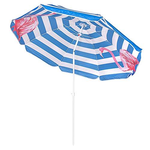 SPRINGOS Brunner - Sombrilla de playa con flamencos (altura máxima de 175 cm, diámetro de 160 cm, función de inclinación (blanco/azul/rayas con flamencos)