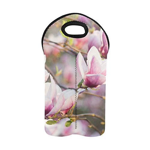 Wine Carriers and Totes 2 Bottle Delicate Beautifui Magnolia Wine Travel Bag Double Bottle Carrier Wine Carrier Bag Thick Neoprene Wine Bottle Holder Keeps Bottles Protected