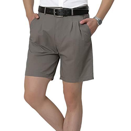 Kurz Hose Sommer Lässige Kurze Anzughose Männer Einfarbig Dünne Atmungsaktive Shorts Plus Size Pocket Beach Trunks Kein Gürtel Männer Straight Shorts 40 Dunkelgrau