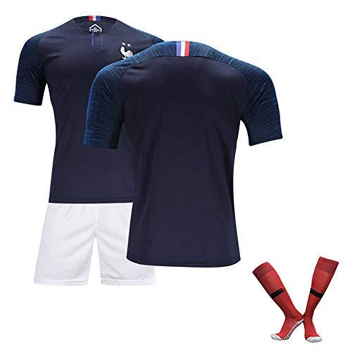 BBSC 19-20# 10 Mbappe # 7 Griezmann # 13 KANTE Kinder-Fußball-Jersey-Weste T-Shirt Trainingsbekleidung Herren Sportswear 3-teiliges Set (Short Sleeve Shorts Socken) -High Qualität Navy Blue-L