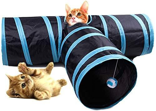 COOLLIU Boxen & Tragetaschen für Hunde Zusammenklappbar Cat Tunnel 3 Way Pet Spiel-Tunnel mit Ringing-Ball-Spaß Soft Tube Spielzeug for Kitten Welpen und Kaninchen (Color : Blue)