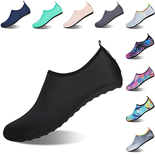 Water Shoes [Upgraded Sole], Adult Swim Shoes for Women and Men, Barefoot Quick Dry Aqua Water Socks with Foot Massage and Arches(Women's Size 11-12, Men's Size 9.5-10)