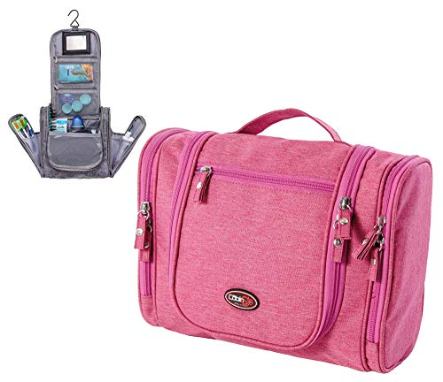 CABIN GO 3020 Beauty Case da Viaggio Grande con Specchio per Donna e Uomo, Pochette da Bagno, Borsetta da bagno da appendere, Borsa da toilette per Cosmetici con Gancio, Bagaglio a mano