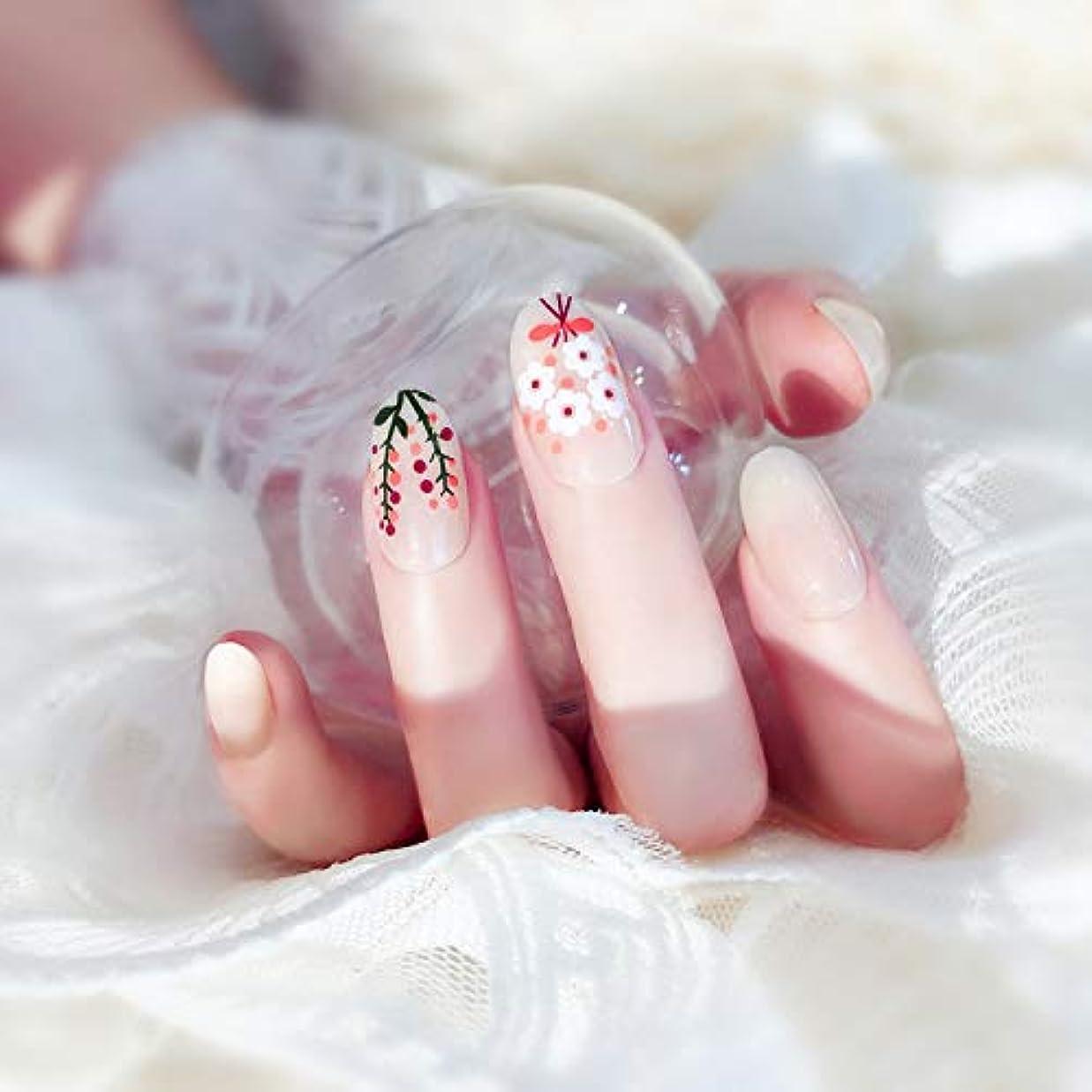 嘆く脅迫養う24枚入 可愛い優雅ネイル 手作りネイルチップ 和装 ネイル 結婚式、パーティー、二次会など 予め接着した爪 中等長ネイルチップ (Z22)