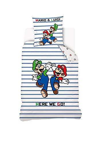 Mario – Funda nórdica a Rayas Mario Luigi Ado 140 x 200 cm + 1 Funda de Almohada de 63 x 63 cm, 100% algodón, Color Blanco y Azul