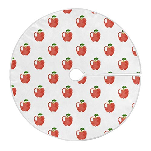 LORONA Apples Pattern Christmas Tree Skirt for Xmas Holiday Party Supplies, Christmas Large Tree Mat Decorations, New Year House Decoration 35.4'