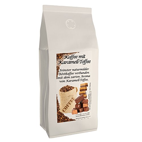 Aromakaffee - aromatisierter Kaffee Karamell, 1000 g ganze Bohnen - Spitzenkaffee - Schonend Und Frisch In Eigener Rösterei Geröstet