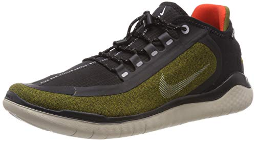 Nike Men's Free RN 2018 Shield Running Shoe Olive/Silver/Black (US 9.5)