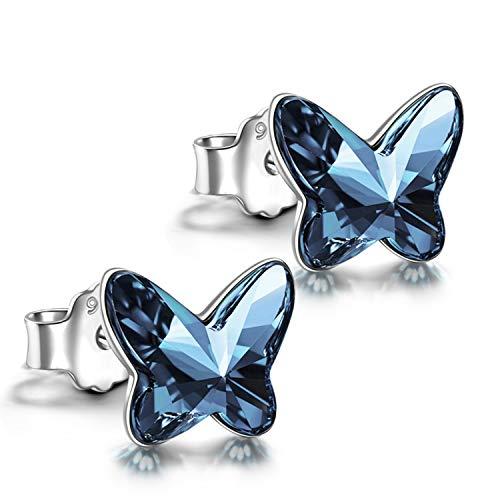 ANGEL NINA 925 Sterling Silver Stud Earrings Butterfly Crystals Hypoallergenic Earrings Anniversary Birthday Gifts for Teen Girl Daughter Sister (Denim Blue #2)