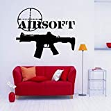 jiuyaomai Airsoft Gun Sign Letters Cotizaciones Pegatinas de Pared Extraíbles para Vivero Niños Habitación Niños Papel Pintado Vinilo Tatuajes de Pared Dormitorio Rojo 67X57cm