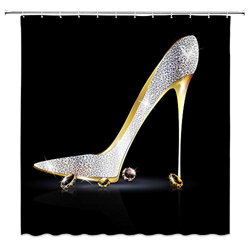 BST Fashion High Heels Diamond Shower Curtain High Heels Shoe Sexy Lady Women Girl Bathroom Curtains Decor Polyester Fabric Quick Drying 70x70 Inches Include Hooks Silver