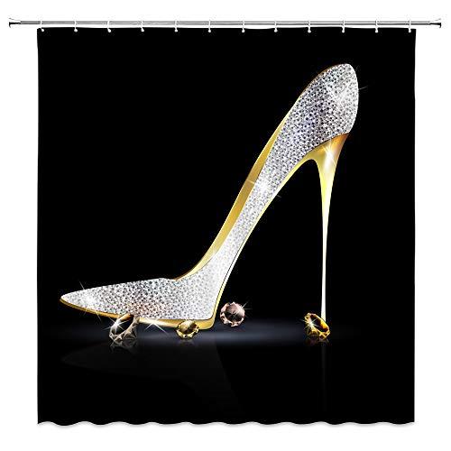 BST Fashion High Heels Diamond Duschvorhang High Heels Schuhe Sexy Lady Frauen Mädchen Badezimmer Gardinen Dekor Polyester Stoff schnell trocknend 177,8 x 177,8 cm inklusive Haken Silber