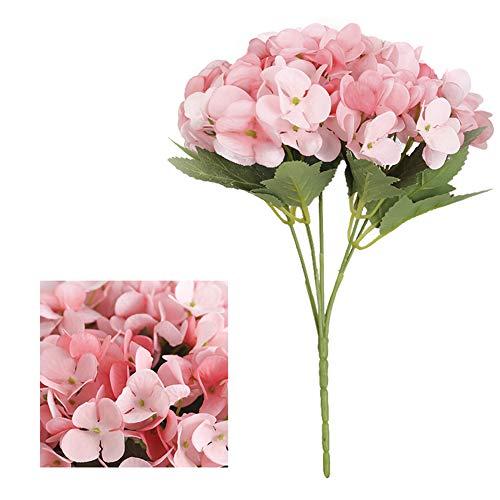 iSpchen Artificiale Fiore di Ortensia 5 Grandi Teste Mazzi di Seta Fiore Finto Pianta Mazzo Casa Decorazione Della Festa Nuziale del Mestiere 1PCS Rosa Chiaro