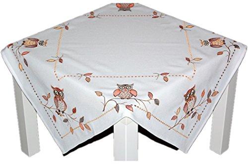 Tischdecken Espamira Weiß 85x85 cm Stickerei Eule Mitteldecke Decke Herbst