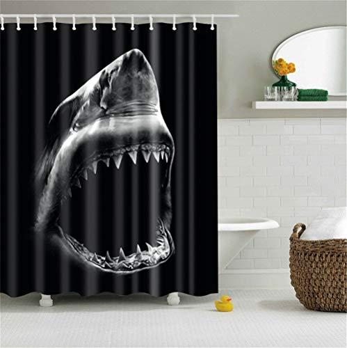 HSCC Duschvorhang, cooler Haifisch mit scharfen Zähnen, schwarzer Boden, dekorativ, Kunstdruck, wasserdicht, Polyester
