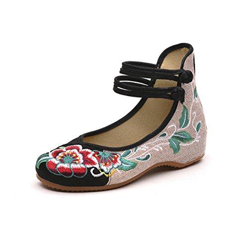 Damen Blume-Stickerei Mary Jane Halbschuhe Chinesisch Ballerina Espadrilles Sommer Sandalen Schuhe