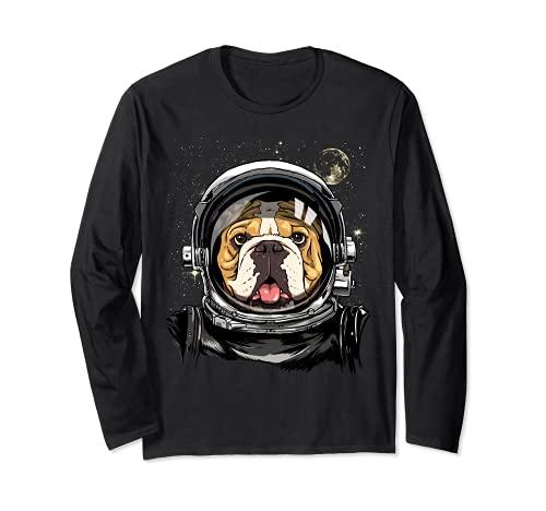 American Bulldog Dog Astronauta Exploración Espacial Astronomía Manga Larga