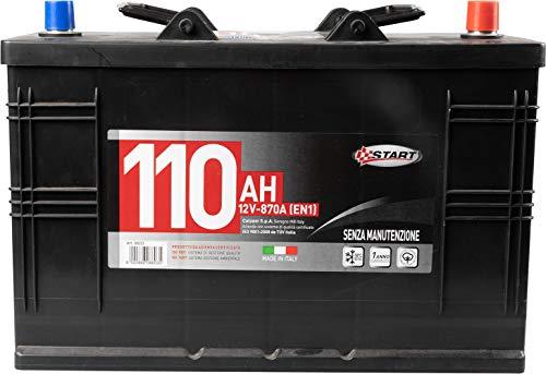Batteria per autocarro e trattori 110ah 12V 750A polo positivo destro.